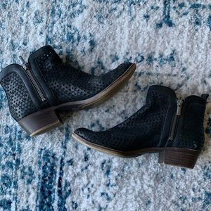 Black low-heel ankle booties from Lucky Brand.